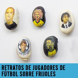 retratos de jugadores de futbol sobre frijoles