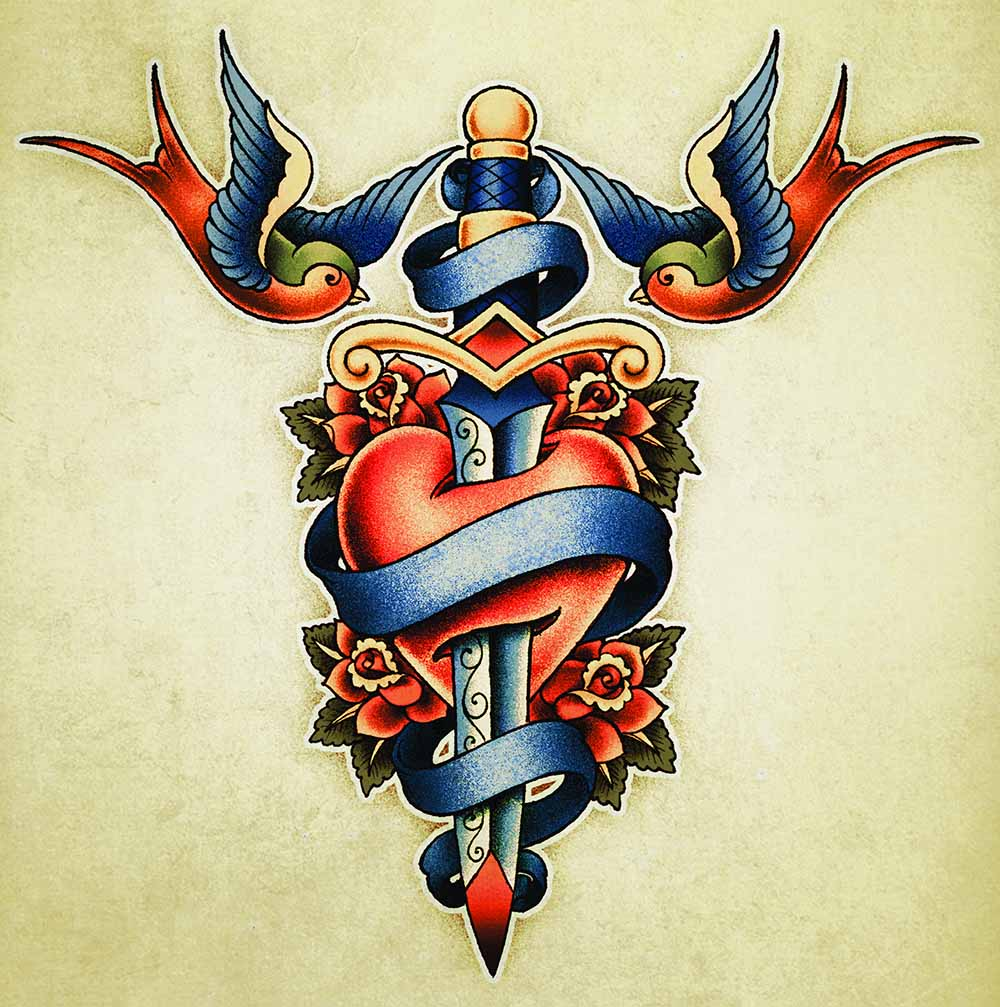 ec4fd11d13858 dagger through heart sailor's tattoo