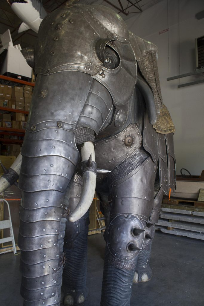 Ripley's found this 18th-century Indo-Persian suit of elephant armor in Stratford-upon-Avon, England. This suit would fit an elephant standing over 12 feet high, and with the howdah—the carriage that sits on the elephant's back—the exhibit is 16 feet tall overall!