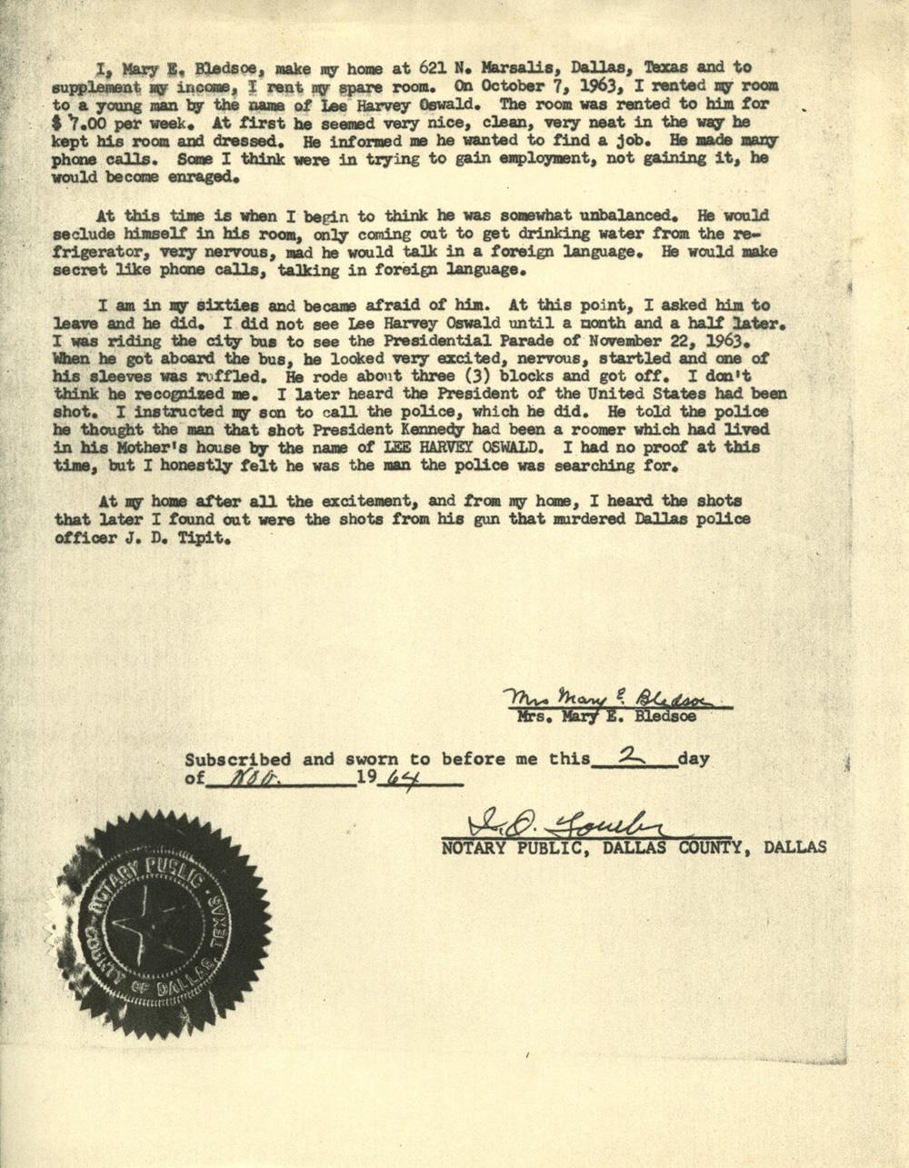 Mary Bledsoe's Affidavit