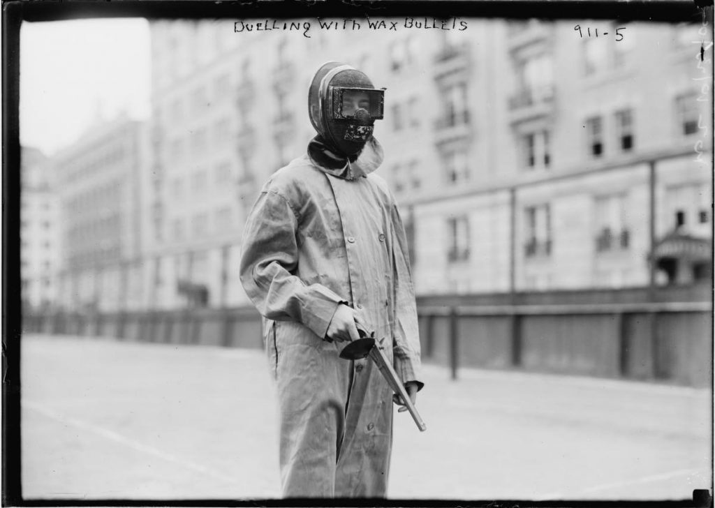 Athletes wore masks and hand-guards for safety.