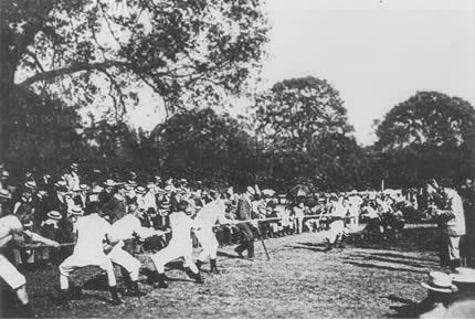 Denmark/Sweden vs. France at the 1900 Olympic Games in Paris.