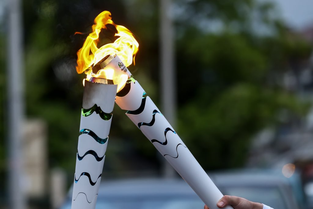 From April 21st to August 5th, torches like this relayed through Greece, Switzerland, and Brazil. There were roughly 12,000 torch bearers in Brazil alone!