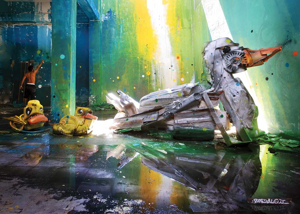 Bordalo II duck trash art