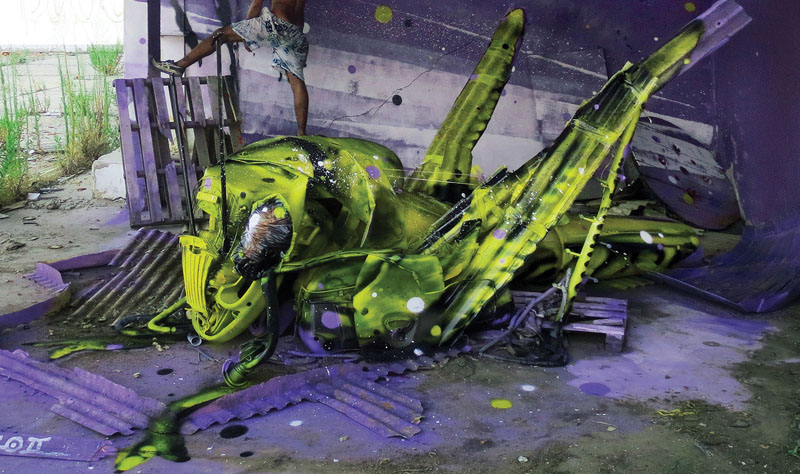 Bordalo II grasshopper trash art