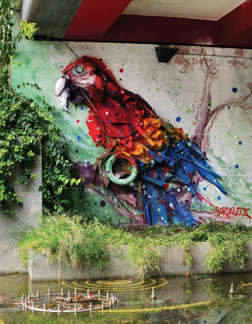 Bordalo II parrot trash art