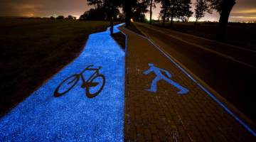 glowing bike trail