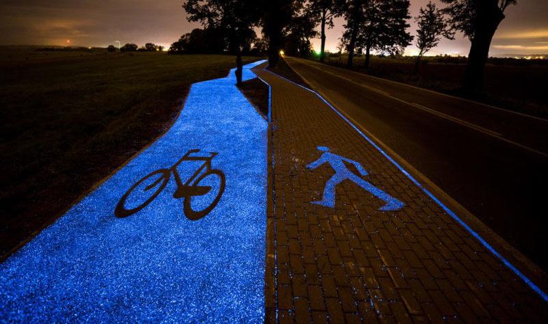 glowing bike trail