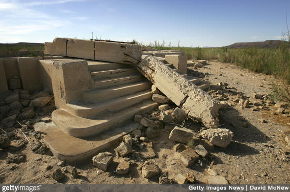 The ruins of the settlement's school are still distinguishable to this day.