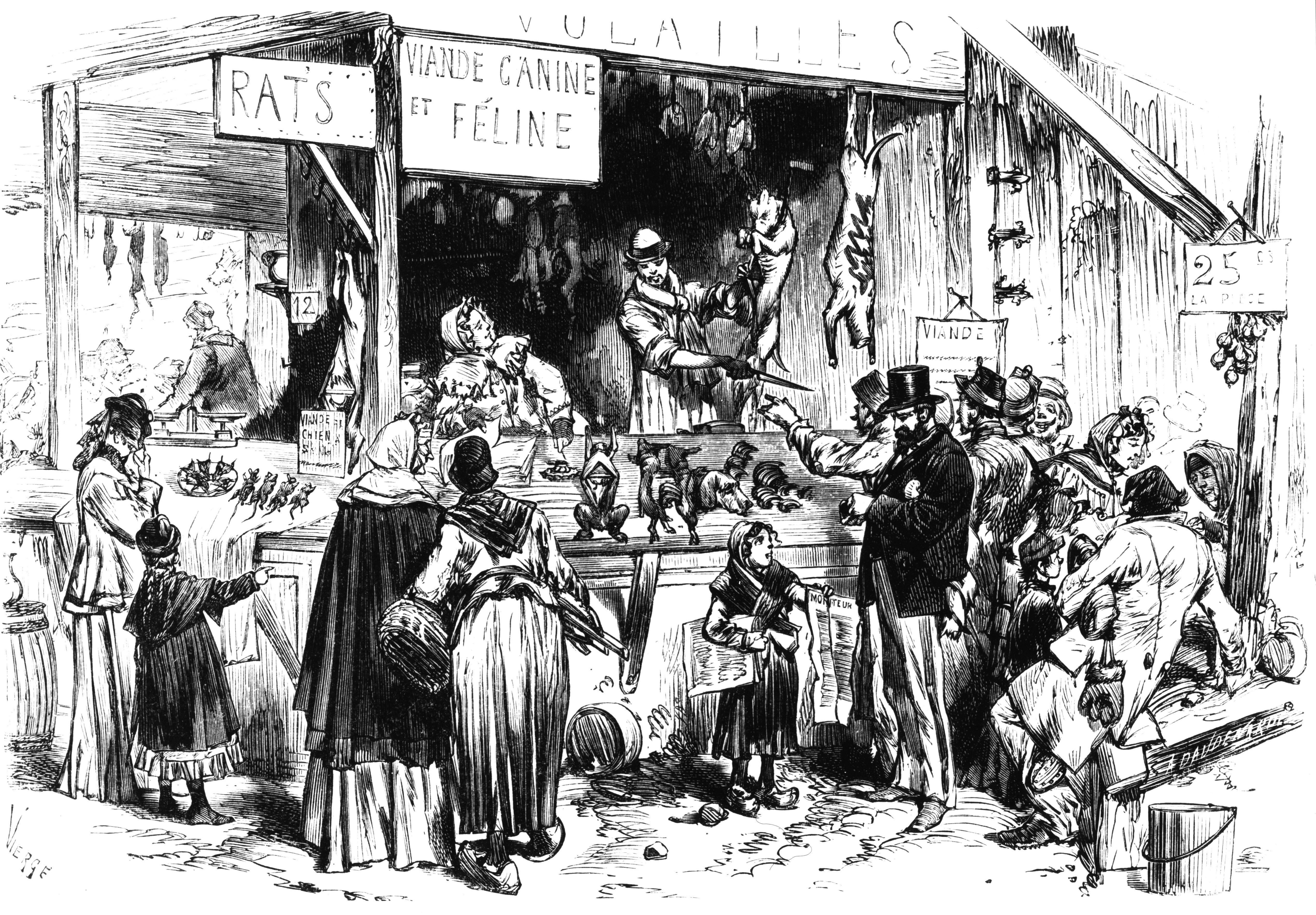 During the Siege of Paris (1870–1871), dogs, cats, and rats were sold at the market. Credit: INTERFOTO / Alamy Stock Photo