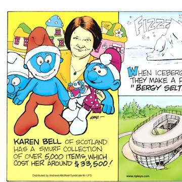 "The Pudding Guy! Thanks to a contest's fine print, University of California engineer David Phillips managed to turn 12,150 cups of pudding into 1.25 million free air miles in 1999! Submitted by Chester Tumidajewicz, Amsterdam, NY.-------------------- Karen Bell of Scotland has a Smurf collection of over 5,000 items, which cost her around $33,500!----------------------- When icebergs and glaciers melt, they make a fizzing noise called ""Bergy Seltzer.""----------------------- The world's only toilet-shaped house is in South Korea and was built by Sim Jae-Duck, who was born in a toilet!"