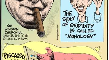 "Sir Winston Churchill smoked eight cigars a day.-------------------- The study of stupidity is called ""Monology.""-------------------- Pigcasso, a pig in Cape Town, South Africa, is the world's only known painting pigs!"