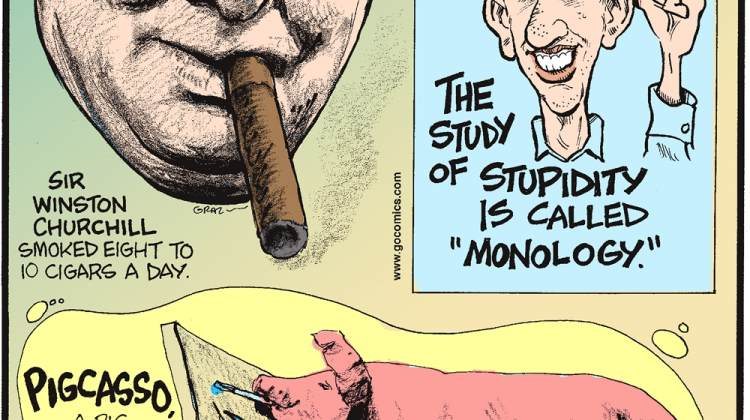 """Sir Winston Churchill smoked eight cigars a day.-------------------- The study of stupidity is called """"Monology.""""-------------------- Pigcasso, a pig in Cape Town, South Africa, is the world's only known painting pigs!"""