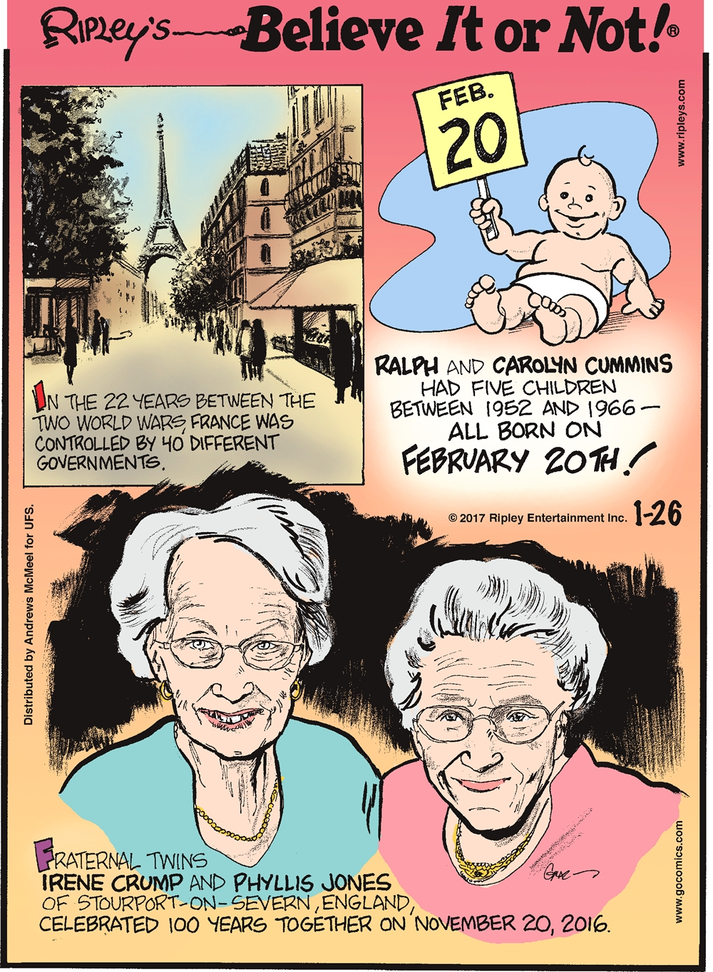 In the 22 years between the two World Wars, France was controlled by 40 different governments.--------------------- Ralph and Carolyn Cummins had five children between 1952 and 1966 - All born on February 20th!--------------------- Fraternal twins Irene Crump and Phyllis Jones of Stourport-on-Severn, England, celebrated 100 years together on November 20, 2016.