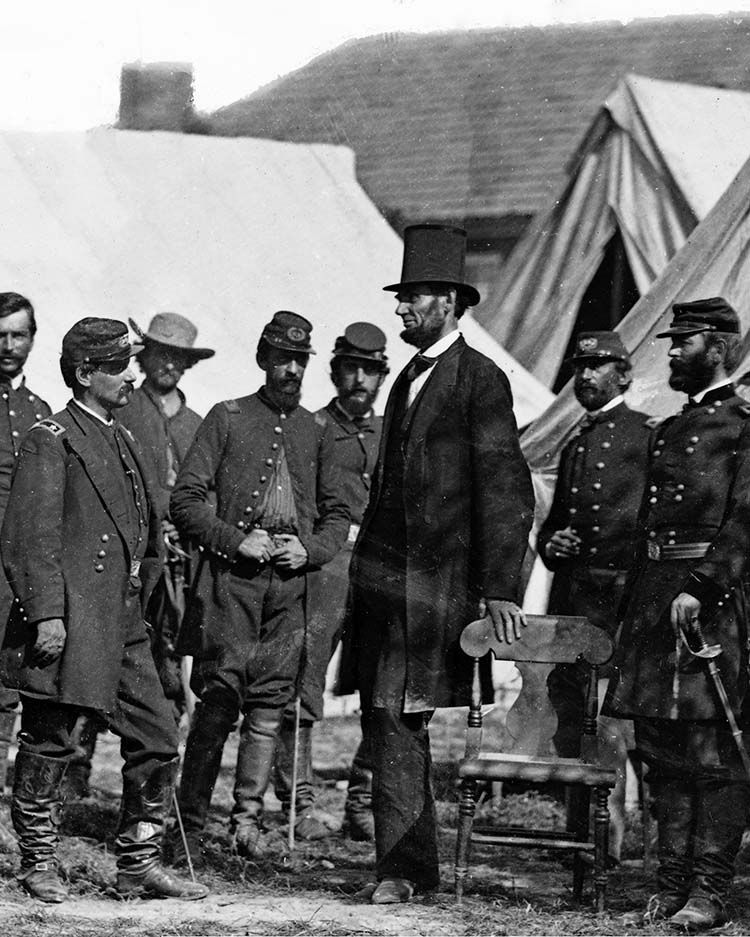 lincoln at civil war camp wearing hat