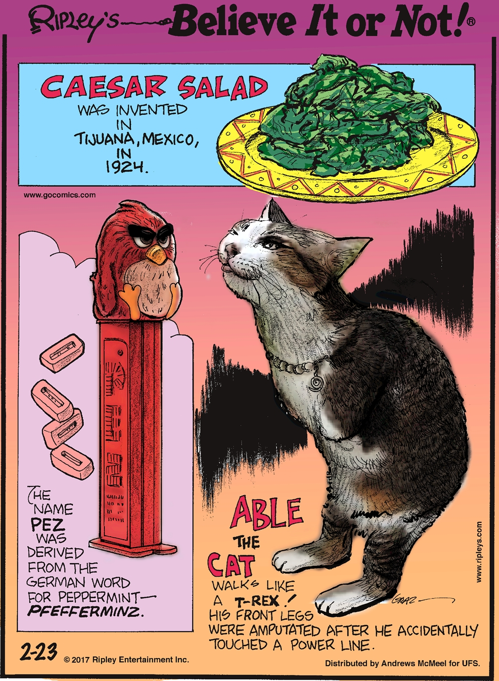 Caesar Salad was invented in Tijuana, Mexico, in 1924.-------------------- The name Pez was derived from the German word for peppermint- Pfefferminz.-------------------- Able the Cat walks like a T-Rex! His front legs were amputated after he accidentally touched a power line.