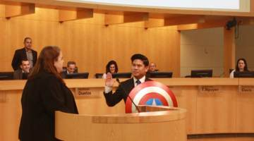lan diep swearing in with captain america shield