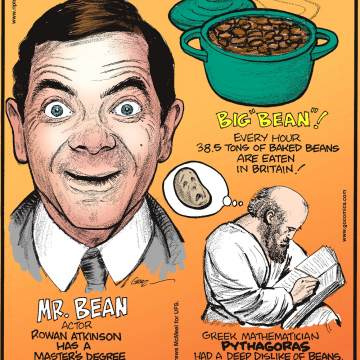 Mr. Bean actor Rowan Atkinson has a Master's Degree in electrical engineering.-------------------- Every hour 38.5 tons of baked beans are eaten in Britain!------------------ Greek mathematician Pythagoras had a deep dislike of beans, perhaps believing that they contained the souls of the dead.