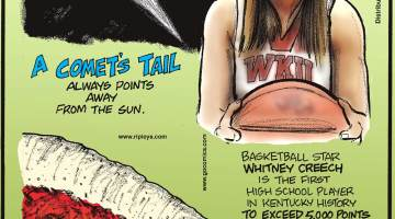 "A comet's tail always points away from the Sun.------------------- Basketball star Whitney Creech is the first high school player in Kentucky history to exceed 5,000 points in a career! Submitted by John Carpenter, Firebrick, KY.-------------------- The outer edge of pizza is called the ""cornicione,"" not the crust."