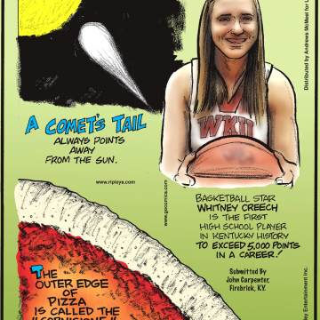 """A comet's tail always points away from the Sun.------------------- Basketball star Whitney Creech is the first high school player in Kentucky history to exceed 5,000 points in a career! Submitted by John Carpenter, Firebrick, KY.-------------------- The outer edge of pizza is called the """"cornicione,"""" not the crust."""