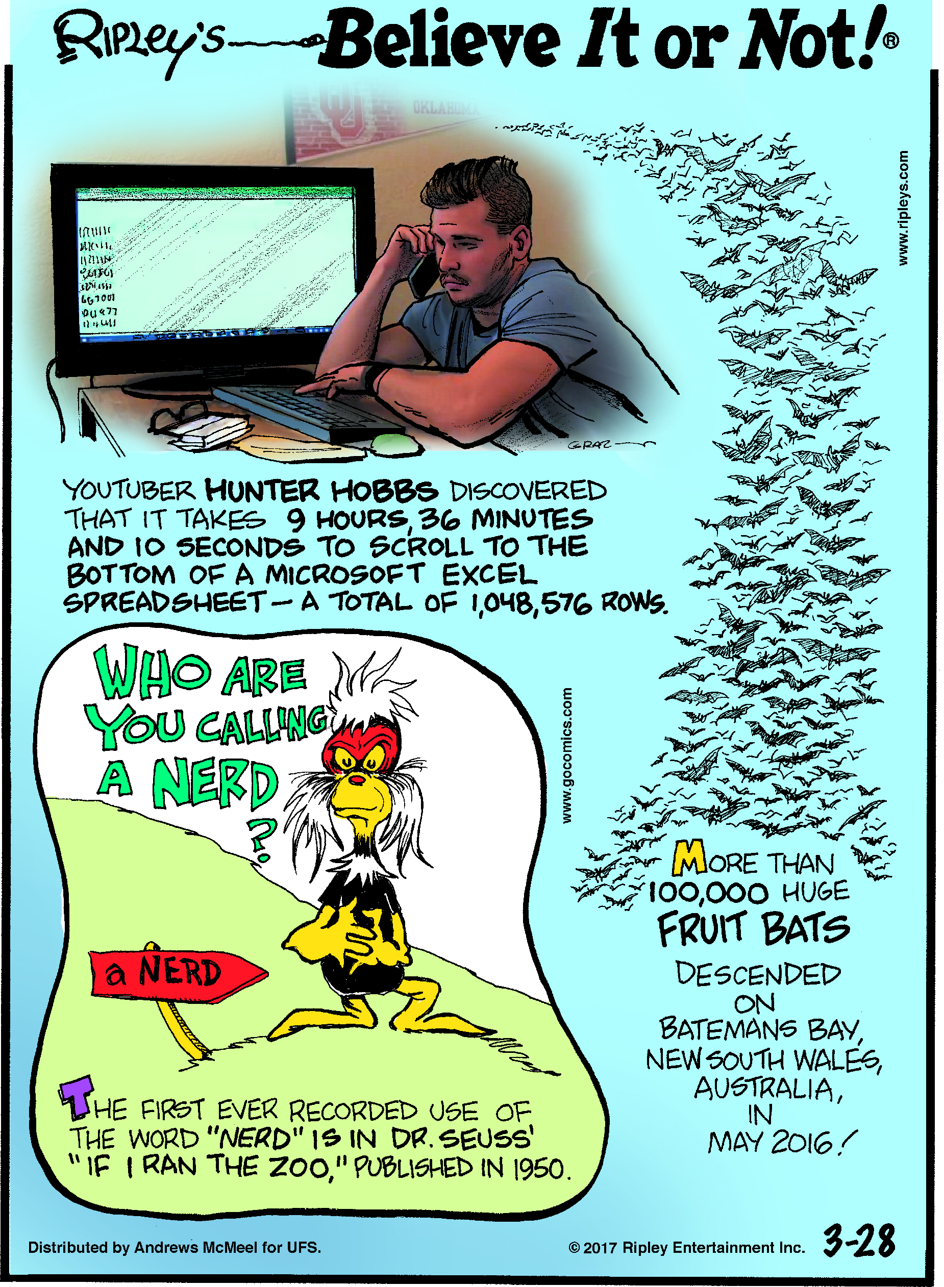 "Youtuber Hunter Hobbs discovered that it takes 9 hours, 36 minutes and 10 seconds to scroll to the bottom of a Microsoft Excel spreadsheet - a total of 1,048,576 rows.--------------------The first ever recorded use of the word ""nerd"" is in Dr. Seuss' ""If I Ran the Zoo,"" published in 1950.-------------------- More than 1000,000 huge fruit bats descended on Batemans Bay, New South Wales, Australia, in May 2016!"