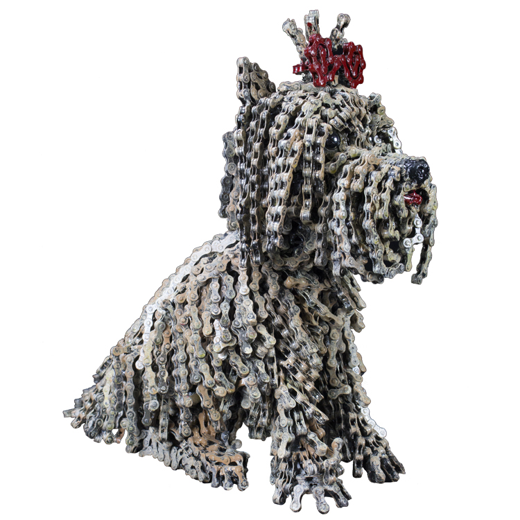 Bike Chain Dog Scultupre