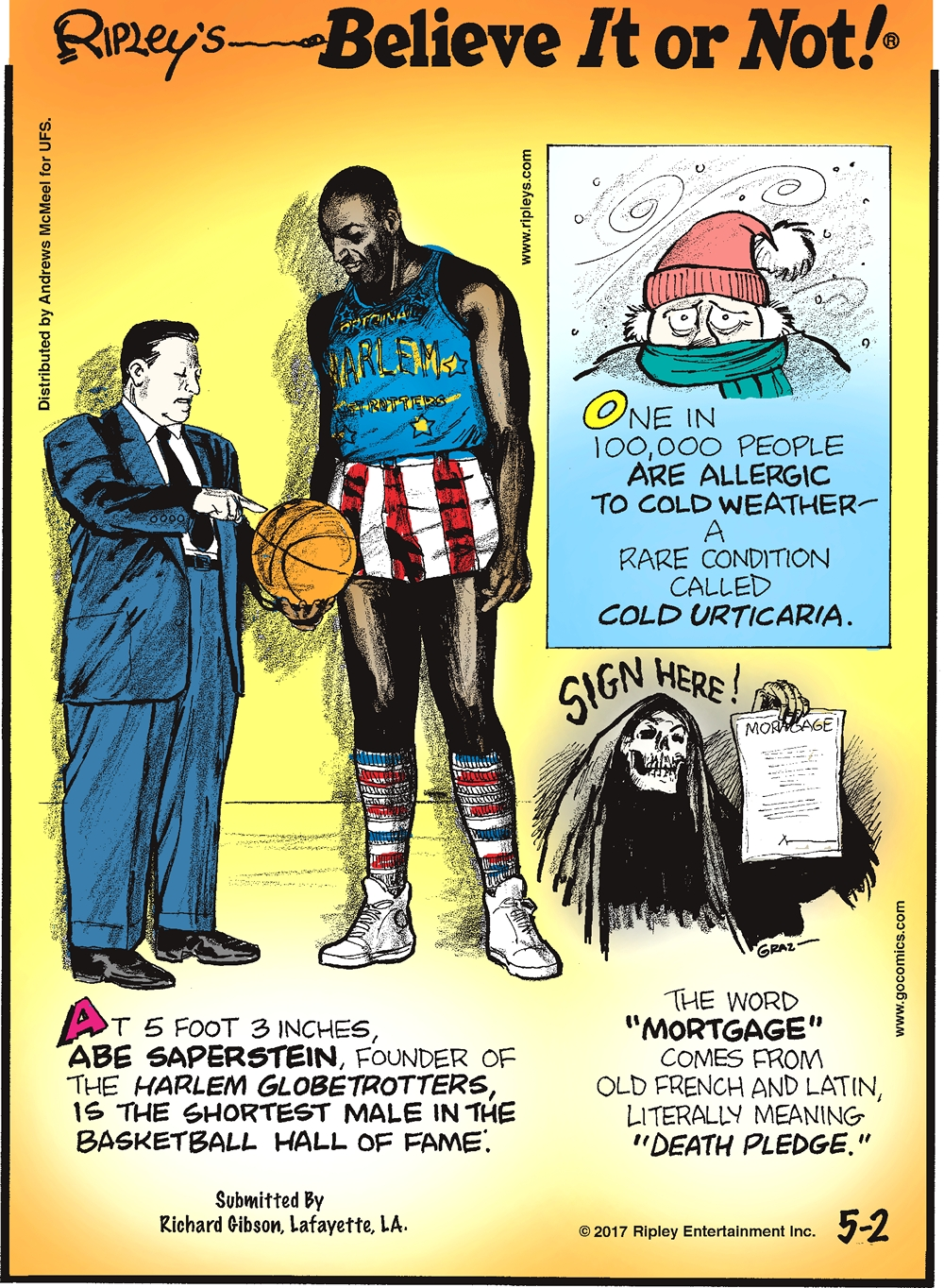 "One in 100,000 people are allergic to cold weather - a rare condition called cold urticaria.-------------------- At 5 foot 3 inches, Abe Saperstein, founder of the Harlem Globetrotters, is the shortest male in the Basketball Hall of Fame. Submitted by Richard Gibson, Lafayettte, LA.-------------------- The word ""mortgage"" comes from old French and Latin, literally meaning ""death pledge."""