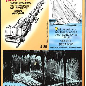 """Twenty horses were required to transport the Titanic's main anchor.-------------------- The sound of melting glaciers and icebergs is called """"Bergy Seltzer""""! Submitted by Nate Westbury, Minneapolis, Minn.-------------------- The Titanic's grand staircase descended down seven of the ship's 10 decks!"""
