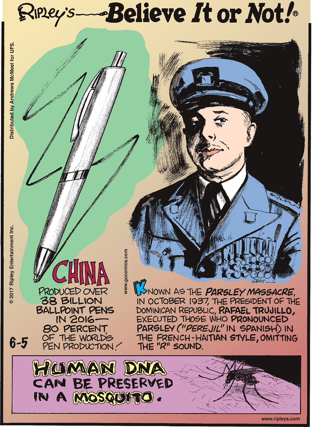 "China produced over 38 billion ballpoint pens in 2016 - 80 percent of the world's pen production!-------------------- Known as the Parsley Massacre, in October 1937, the President of the Dominican Republic, Rafael Trujillo, executed those who pronounced parsley (""perejil"" in Spanish) in the French-Haitian style, omitting the ""R"" sound.------------------ Human DNA can be preserved in a mosquito."