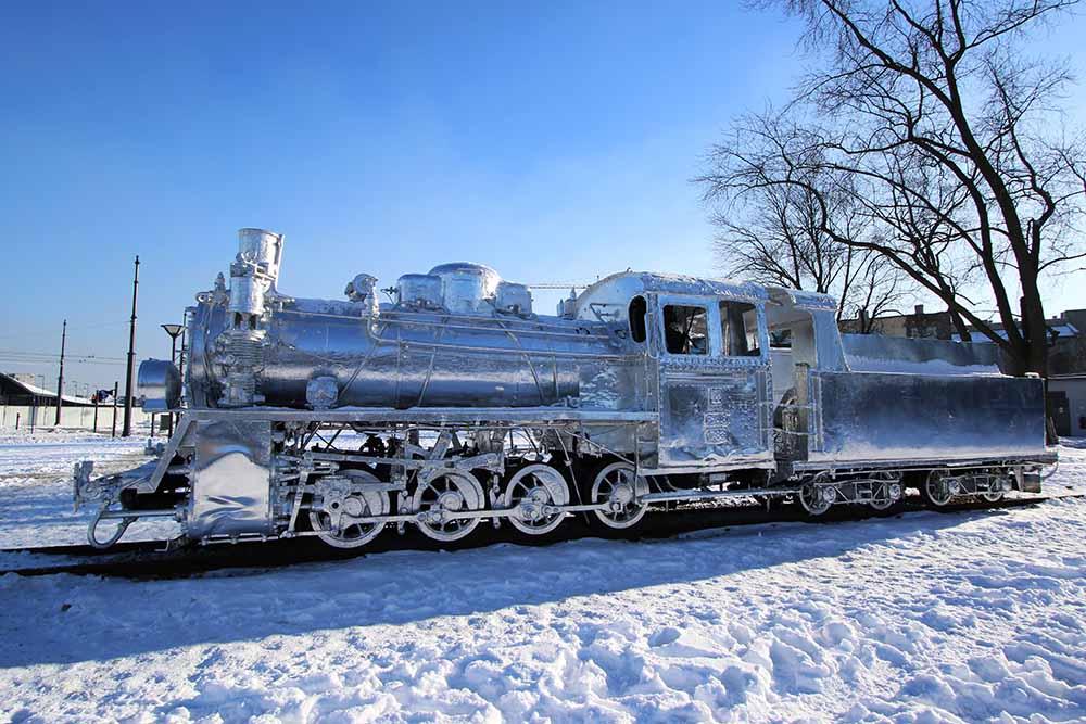 foil train in the snow