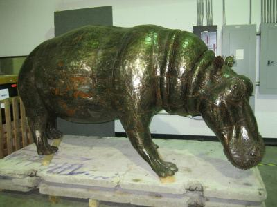 This hippo is made of scrap metal from oil drums, construction materials and crashed cars!