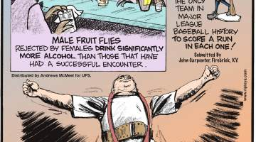 Male fruit flies rejected by females drink significantly more alcohol than those that have had a successful encounter.-------------------- In 1982, the New York Yankees played 154 games and are the only team in Major League Baseball history to score a run in each one! Submitted by John Carpenter, Firebrick, KY.-------------------- On November 15, 2005, Frank Ciavattone of Walpole, Massachusetts, lifted 808 pounds with just his neck! Submitted by Dan Paulun, W. Lafayette, OH.