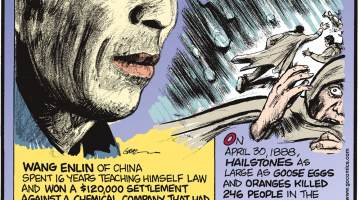 Wang Enlin of China spent 16 years teaching himself law and won a $120,000 settlement against a chemical company that had dumped toxic waste on his village's farmland. Submitted by Dan Paulun, W. Lafayette, OH.-------------------- On April 30, 1888, hailstones as large as goose eggs and oranges killed 246 people in the town of Moradabad, India. Submitted by Dan Paulun, W. Lafayette, OH.-------------------- Until the 1960s, many U.S. college students mailed their dirty laundry home for their mothers to wash and mail back. Back-to-school supplies even included laundry mailing boxes.