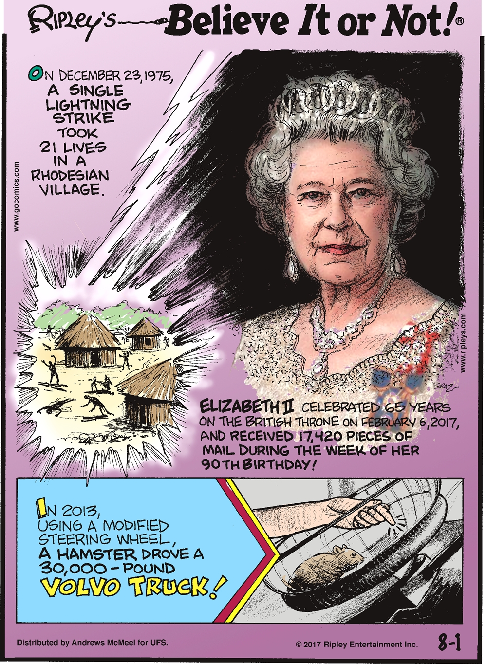 On December 23, 1975, a single lightning strike took 21 lives in a Rhodesian Village.-------------------- Elizabeth II celebrated 65 years on the British Throne on February 6, 2017, and received 17,420 pieces of mail during the week of her 90th birthday!-------------------- In 2013, using a modified steering wheel, a hamster drove a 30,000-pound Volvo truck!