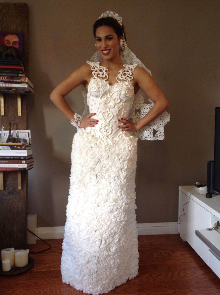 Wedding Dress Hand Made from Toilet Paper