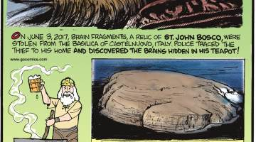 On June 3, 2017, brain fragments, a relic of St. John Bosco, were stolen from the Basilica of Castelnuovo, Italy. Police traced the thief to his home and discovered the brains hidden in his teapot!-------------------- Vikings brewed beer from heat-cracked rocks!--------------------- Han's Island is disputed Danish and Canadian territory. Both countries claim the tiny, half-square-mile island and offer gifts during border exchanges - Denmark leaves a bottle of schnapps while Canada provides whiskey!