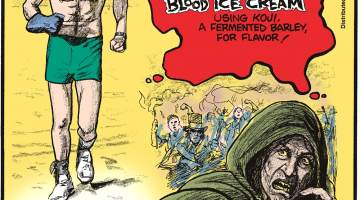 In 2014, chefs at Nordic Food Labs developed blood ice cream using koji, a fermented barley, for flavor!---------------------- Robert Kraft has run 8 miles on Miami Beach every day for the past 42 years! Submitted by Richard Gibson, Lafayette, LA.--------------------- Witch hunters in the 16th and 17th centuries often identified alleged witches by an extra nipple, though often mistaken for moles or birthmarks.