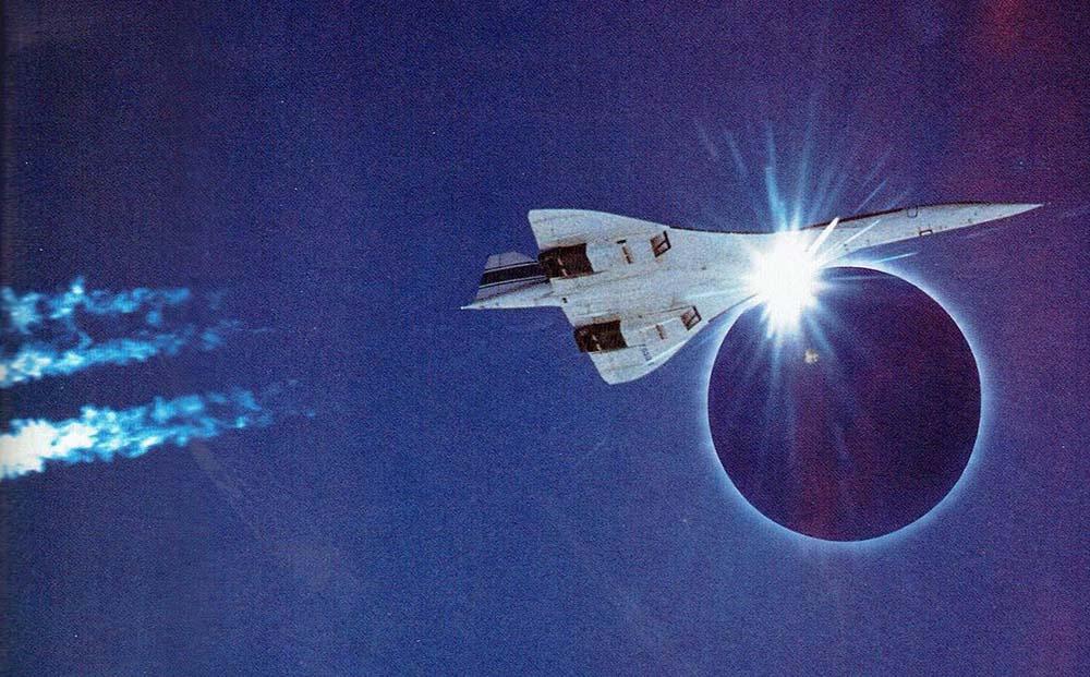 concorde jet under total eclipse