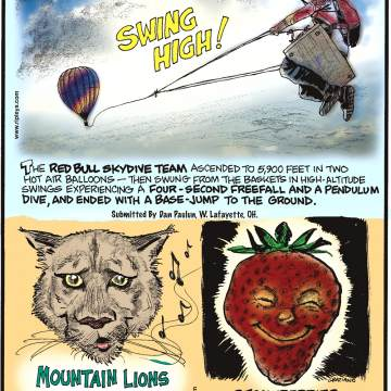 The Red Bull Skydive Team ascended to 5,900 feet in two hot air balloons - then swung from the baskets in high-altitude swings experiencing a four-second freefall and a pendulum dive, and ended with a base-jump to the ground. Submitted by Dan Paulun, W. Lafayette, OH.--------------------Mountain lions can whistle!-------------------- Strawberries have more vitamin c than oranges!