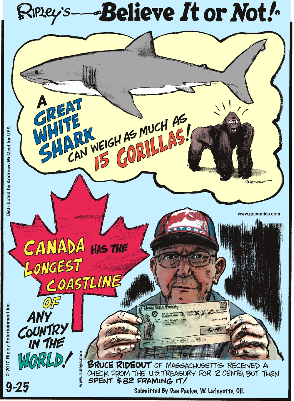 A great white shark can weigh as much as 15 gorillas!-------------------- Canada has the longest coastline of any county in the world!-------------------- Bruce Rideout of Massachusetts received a check from the U.S. Treasure for 2 cents, but then spent $82 framing it! Submitted by Dan Paulun, W. Lafayette, OH.