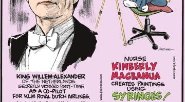 "King Willem-Alexander of the Netherlands secretly worked part-time as a co-pilot for KLM Royal Dutch Airlines. Submitted by Dan Paulun, W. Lafayette, OH.-------------------- Nurse Kimberly Magbanua creates paintings using syringes!-------------------- In 2017, scientists created ""ruby"" chocolate, which is naturally pink and the first new type of chocolate invented in 80 years!"