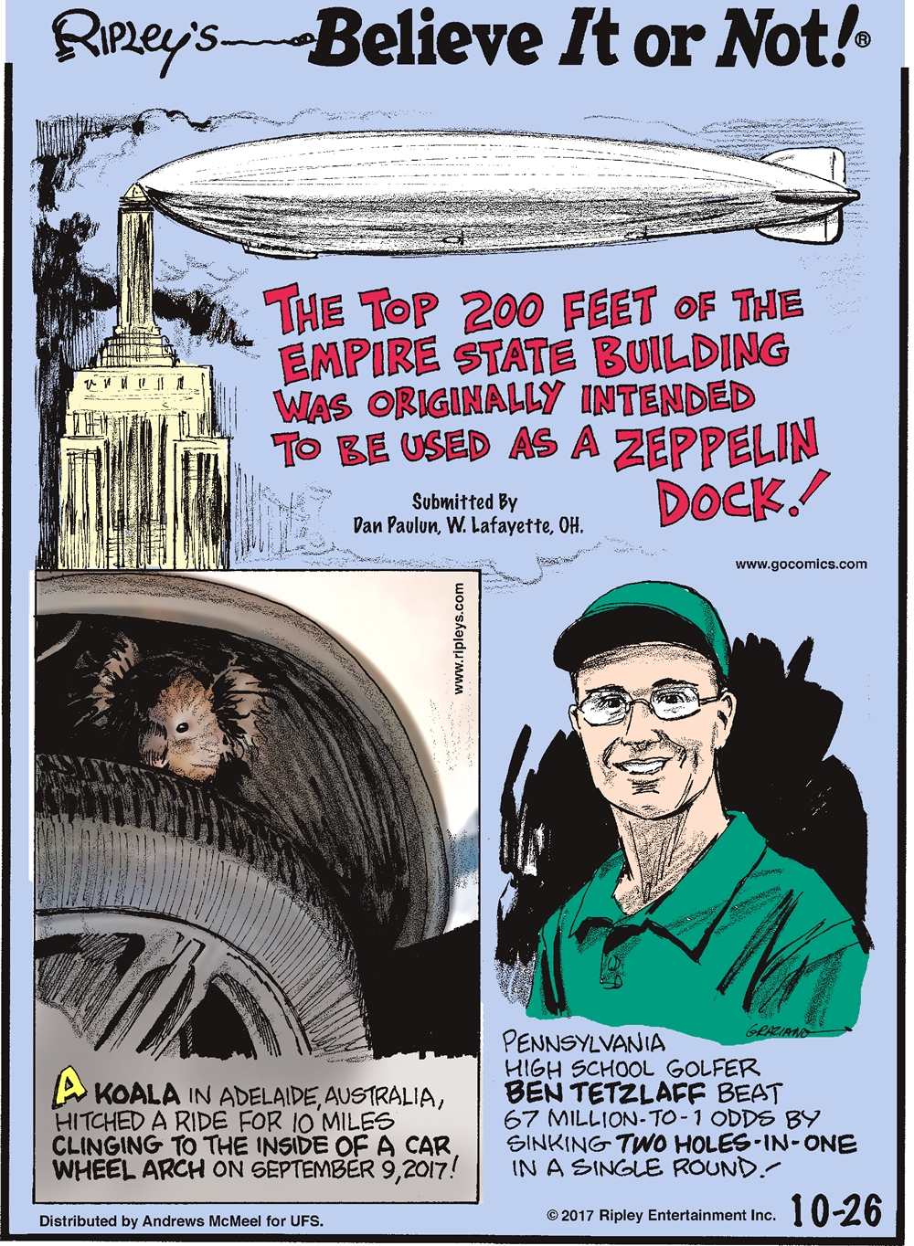 The top 200 feet of the Empire State Building was originally intended to be used as a zeppelin dock! Submitted by Dan Paulun, W. Lafayette, OH.-------------------- A koala in Adelaide, Australia, hitched a ride for 10 miles clinging to the inside of a car wheel arch on September 9, 2017!--------------------- Pennsylvania high school golfer Ben Tetzlaff beat 67 million-to-1 odds by sinking two holes-in-one in a single round!