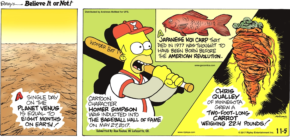 A single day on the planet Venus is equal to eight months on Earth!-------------------- Cartoon character Homer Simpson was inducted into The Baseball Hall of Fame on May 27, 2017. Submitted by Dan Paulun, W. Lafayette, OH.-------------------- A Japanese koi carp that died in 1977 was thought to have been born before the America Revolution.-------------------- Chris Qualley of Minnesota grew a two-foot-long carrot weighing 22.4 pounds!