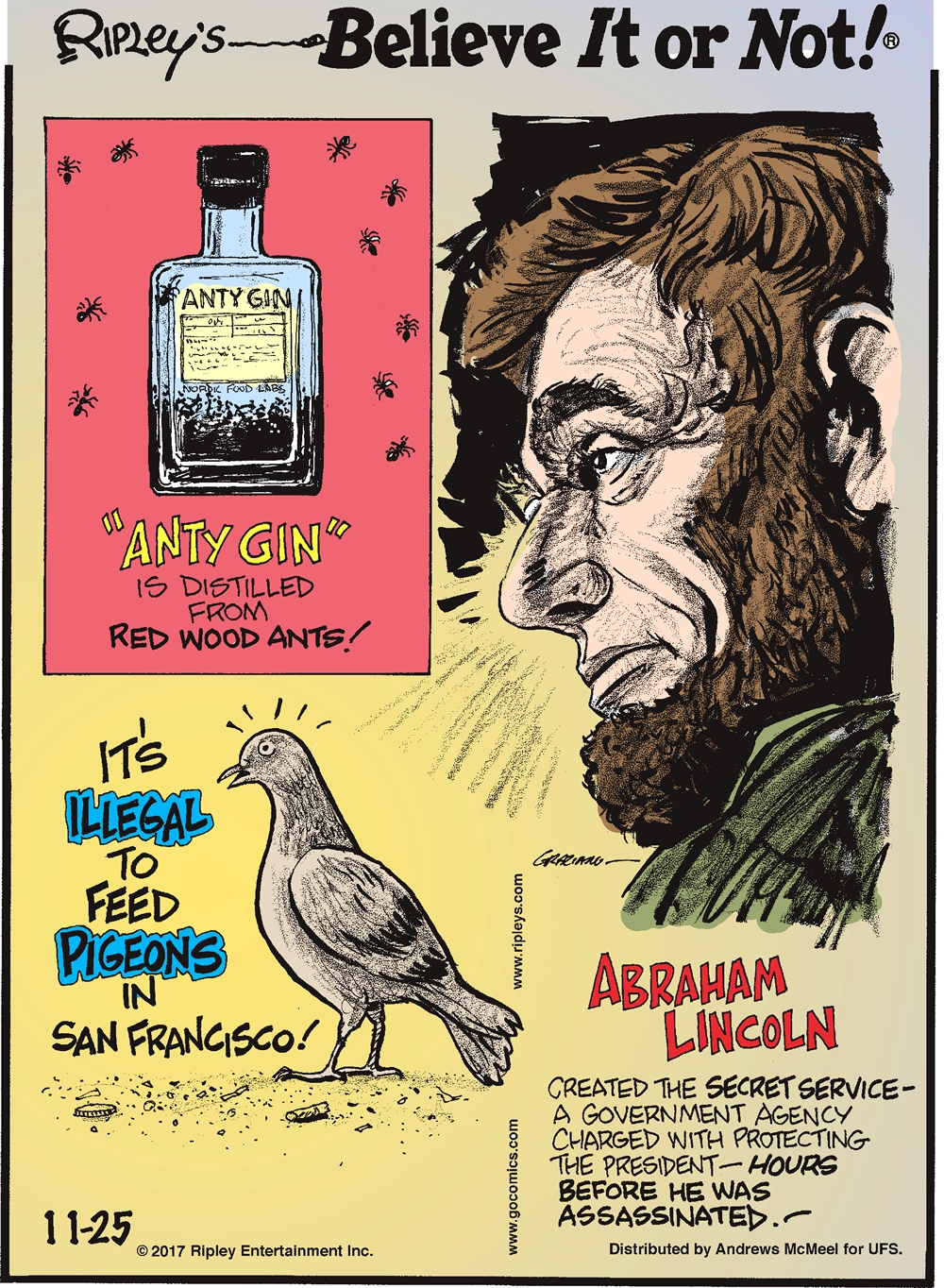 """Anty Gin"" is distilled from red wood ants!----------------------It's illegal to feed pigeons in San Francisco!-------------------- Abraham Lincoln created the Secret Service - a government agency charged with protecting the President - hours before he was assassinated!"