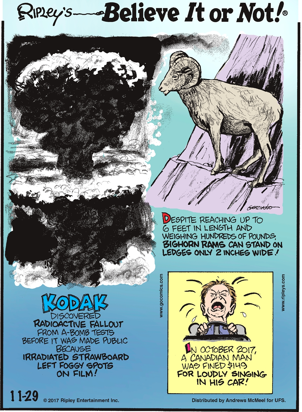 Despite reaching up to 6 feet in length and weighing hundreds of pounds, bighorn rams can stand on ledges only 2 inches wide!-------------------- Kodak discovered radioactive fallout from a-bomb tests before it was made public because irradiated strawboard left foggy spots on film!-------------------- In October 2017, a Canadian man was fined $149 for loudly singing in his car!