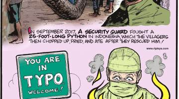 """In September 2017, a security guard fought a 25-foot-long python in Indonesia, which the villagers then chopped up, fried, and ate after they rescued him.-------------------- There is a town called """"Typo"""" in Kentucky!-------------------- In October 2016, a patient farted mid-surgery, causing a laser to ignite!"""