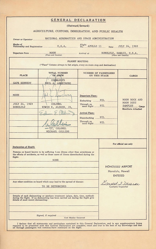 Astronaut Collins customs form