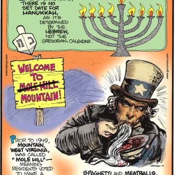 """Unlike Christmas, there is no set date for Hanukkah, as it's determined by the Hebrew, not the Gregorian, calendar.-------------------- Prior to 1949, Mountain, West Virginia, was called """"Mole Hill"""" - meaning residents voted to make a mountain out of a mole hill!-------------------- Spaghetti and meatballs, although considered Italian, is actually an American dish!"""