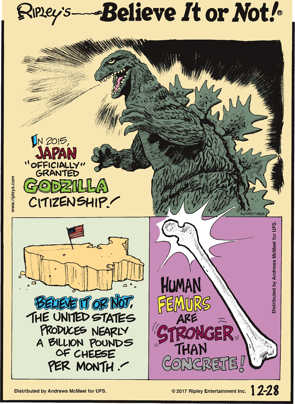 "In 2015, Japan ""officially"" granted Godzilla citizenship!-------------------- Believe it or not, the United States produces nearly a billion pounds of cheese per month!-------------------- Human femurs are stronger than concrete!"