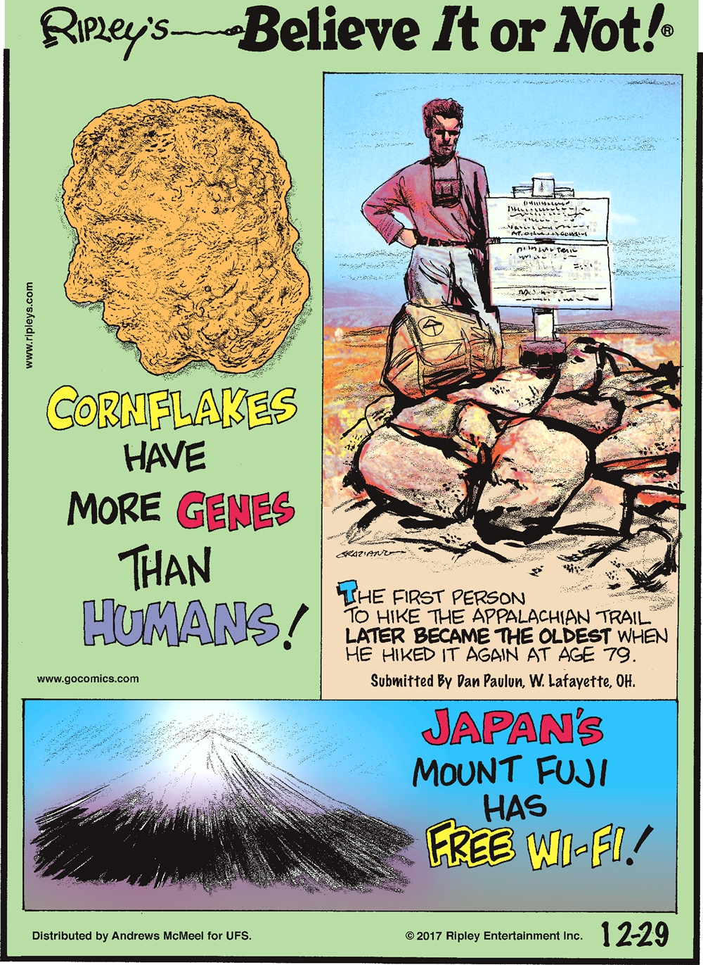 Cornflakes have more genes than humans!-------------------- The first person to hike the Appalachian trail later became the oldest when he hiked it again at age 79. Submitted by Dan Paulun, W. Lafayette, OH.-------------------- Japan's Mount Fuji has free wi-fi!